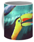 Closeup Portrait Of A Colorful And Exotic Toucan Bird Against Blue Background Nicaragua Coffee Mug