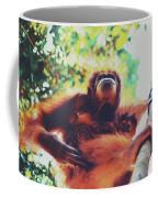 Closeup Portrait Of A Wild Sumatran Adult Female Orangutan Climbing Up The Tree And Holding A Baby Coffee Mug