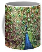 Closeup Portrait Of An Indian Peacock Displaying Its Plumage Coffee Mug