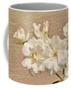 Cluster Of White Roses Posterized Coffee Mug