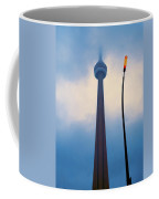 Cn Tower In Toronto With Red Streetlamp Coffee Mug