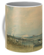 Coast Scene With White Cliffs And Boats On Shore Coffee Mug