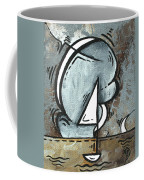 Coastal Art Contemporary Sailboat Painting Whimsical Design Silver Sea I By Madart Coffee Mug