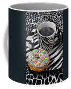 Coffee And Donut On Striped Plate Coffee Mug