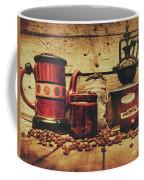 Coffee Bean Grinder Beside Old Pot Coffee Mug