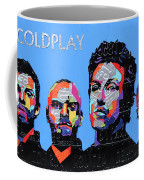 Coldplay Band Portrait Recycled License Plates Art On Blue Wood Coffee Mug