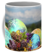 Colored Easter Eggs In Basket And Spring Flowers Coffee Mug