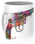 Colorful 1896 Wesson Revolver Patent Coffee Mug by Nikki Marie Smith
