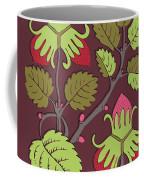 Colorful Botanical Hand Drawn Strawberry Bush Isolated On Vinous Coffee Mug