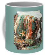 Colorful Catch - Starfish In Fishing Nets Square Coffee Mug