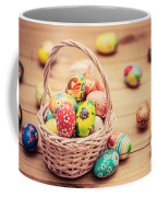 Colorful Hand Painted Easter Eggs In Basket And On Wood Coffee Mug