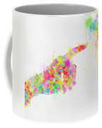 Colorful Painting Of Hand Pointing Finger Coffee Mug