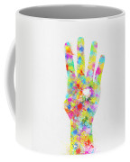 Colorful Painting Of Hand Pointing Four Finger Coffee Mug