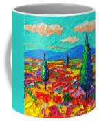 Colorful Poppies Field Abstract Landscape Impressionist Palette Knife Painting By Ana Maria Edulescu Coffee Mug