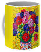 Colorful Ranunculus Flowers In Polka Dots Vase Palette Knife Oil Painting By Ana Maria Edulescu Coffee Mug