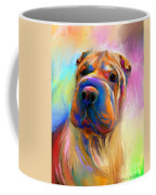 Colorful Shar Pei Dog Portrait Painting  Coffee Mug by Svetlana Novikova