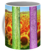 Colorfull Tree Trunks In Thefield. Abstract Psychedelic Colors Coffee Mug