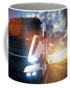Commercial Cargo Delivery Truck With Trailer Driving On Highway At Sunset. Coffee Mug