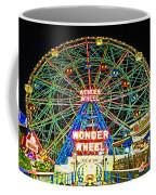 Coney Island's Wonderous Wonder Wheel In Neon Coffee Mug