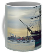 Uss Constellation And Domino Sugars - Sloop Of War Warship In Baltimore's Inner Harbor - Us Navy Coffee Mug