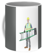 Construction Worker Carrying A Ladder Coffee Mug