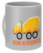 Construction Zone - Concrete Truck Work In Progress Gifts - Grey Background Coffee Mug