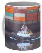 Container Ship And Tug Coffee Mug