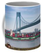 Container Ship Passing The Verrazano Bridge Coffee Mug