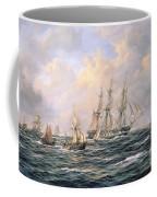 Convoy Of East Indiamen Amid Fishing Boats Coffee Mug by Richard Willis