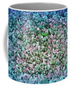 Cool Blue Pink Petals On Stones Coffee Mug