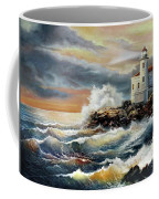 Coquille River Lighthouse At Hightide Coffee Mug