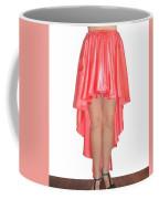 Coral Pink Satin High Low Skirt With High Slit. Ameynra Simple Line Coffee Mug