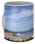 Corfu Town And Port With Cruiser Cityscape Coffee Mug