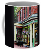 Corner Restaurant With Hanging Plants Coffee Mug