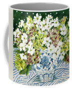 Cosmos And Hydrangeas In A Chinese Vase Coffee Mug