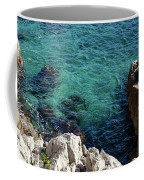 Cote D Azur - Stark White And Silky Azure Blue Coffee Mug