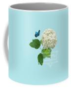 Cottage Garden White Hydrangea With Blue Butterfly Coffee Mug