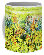 Cottage Gate Seen Through Sun Daisies Coffee Mug