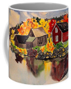 Cottages By A Lake In Autumn  Coffee Mug