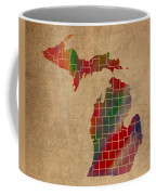 Counties Of Michigan Colorful Vibrant Watercolor State Map On Old Canvas Coffee Mug
