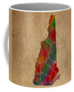 Counties Of New Hampshire Colorful Vibrant Watercolor State Map On Old Canvas Coffee Mug