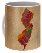 Counties Of New Jersey Colorful Vibrant Watercolor State Map On Old Canvas Coffee Mug
