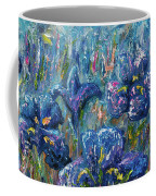 Countryside Irises Oil Painting With Palette Knife Coffee Mug
