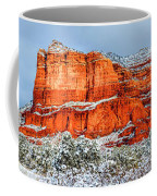 Courthouse Butte And Bell Rock Under Snow Coffee Mug