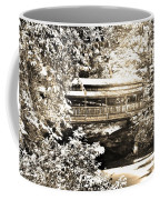 Covered Bridge At Lanterman's Mill Black And White Coffee Mug
