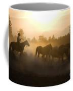 Cowboy Chasing Horses Coffee Mug