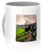 Cows At Sunset Bordered Coffee Mug