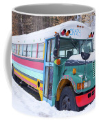 Crazy Painted Old School Bus In The Snow Coffee Mug