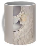 Cream Rose On White China Cup Coffee Mug