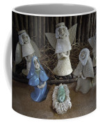 Creche Mary Joseph And Baby Jesus Coffee Mug by Nancy Griswold